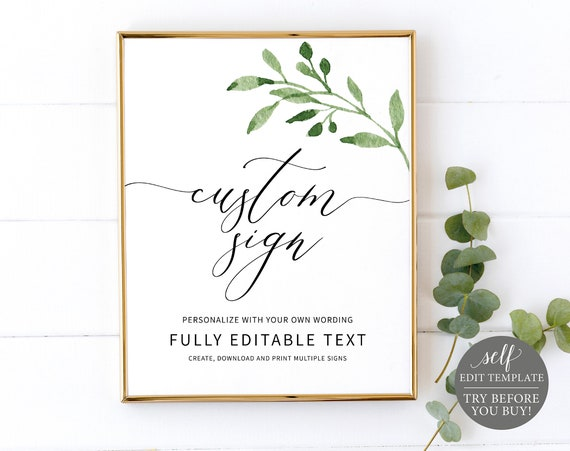 Create Multiple Signs Template, Greenery Leaf, 100%  Editable Instant Download, TRY BEFORE You BUY