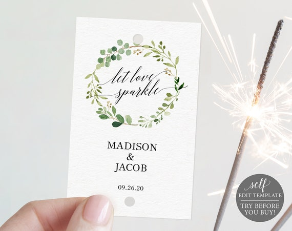 Sparkler Tag Template, Greenery, Editable Instant Download, TRY BEFORE You BUY