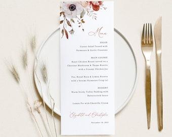 Fall Wedding Menu Template, Fall Floral, Wedding Table Menu Card, Printable, Editable, Templett INSTANT Download