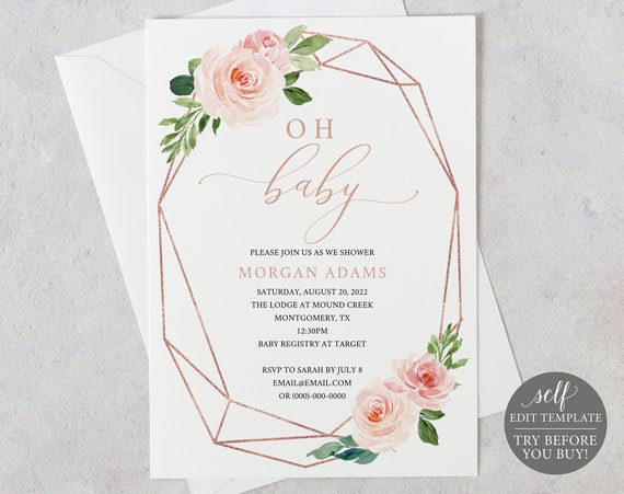 Baby Shower Invitation Template, Rose Gold & Blush Floral, Demo Available, Editable Printable Instant Download