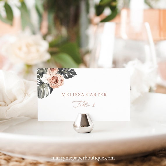 Wedding Place Card Template, Tropical Leaf, Dusky Pink Flowers, Flat & Tent Place Cards, Printable, Editable, Templett INSTANT Download