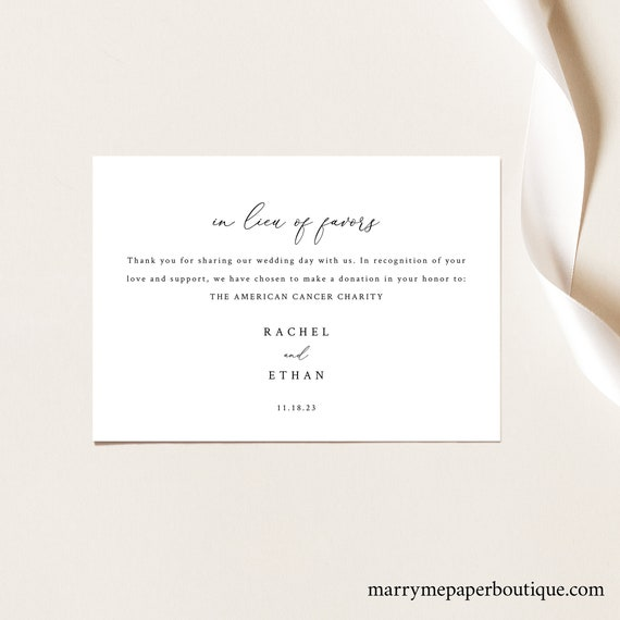 In Lieu of Favors Card Template, Elegant & Refined, Charity Donation Card Printable, Templett, Editable, INSTANT Download