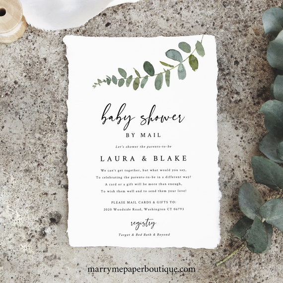 Baby Shower By Mail Template, Eucalyptus Greenery, Baby Shower By Mail Printable, Templett Instant Download, Try Before You Buy