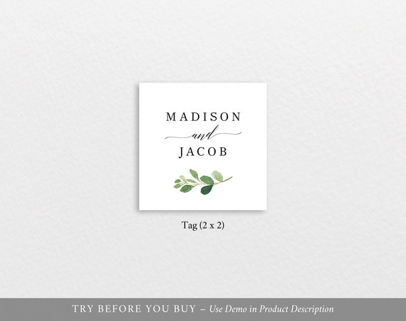 Editable Instant Download TRY BEFORE You BUY Greenery Leaf Square Label  Monogram Tag Template