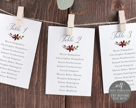 Seating Cards Template, Editable Instant Download, Christmas Theme, TRY BEFORE You BUY