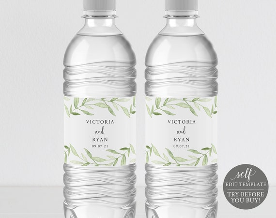 Water Bottle Label Template, Greenery Leaves, TRY BEFORE You BUY, Editable Instant Download