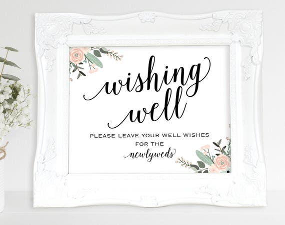 Floral Wishing Well Sign, Wedding Sign, Wedding Printable Sign, Wishing Well, Wedding Template, Newlyweds, DIY, PDF Instant Download, MM01-6