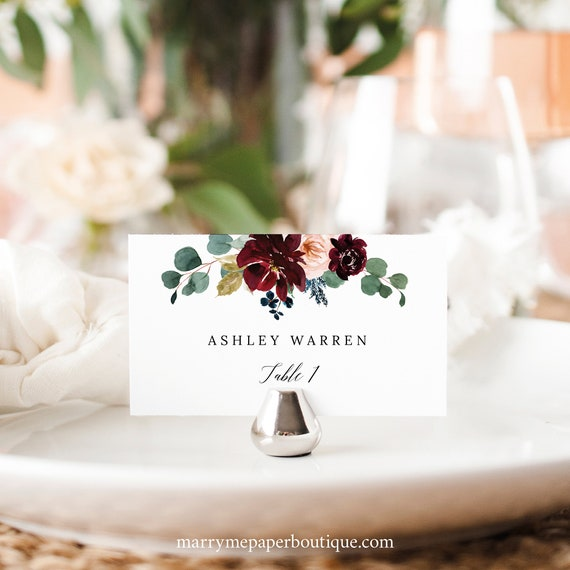 Wedding Place Card Template, Burgundy Floral, Flat & Tent, Printable Place Card, Editable, Templett INSTANT Download