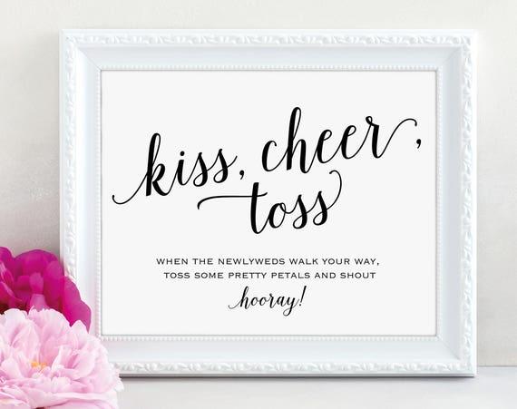 Kiss Cheer Toss Sign, Toss Petals Sign, Flower Confetti Sign, Wedding Sign, Wedding Printable, Wedding Petals, PDF Instant Download, MM01-1