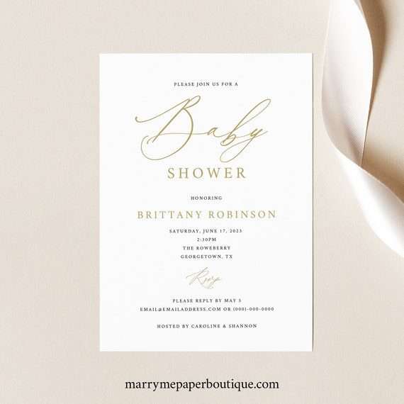 Gold Baby Shower Invitation Template, Free Demo Available, Editable Instant Download, Stylish Script