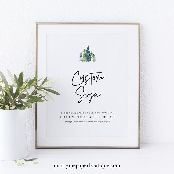 Pine Forest Wedding Sign Bundle Template, Rustic Pine Trees, Printable Wedding Signs, Editable, Templett, INSTANT Download