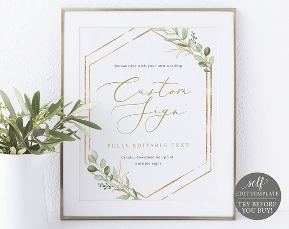 Create MULTIPLE Signs Template, Greenery Hexagonal, TRY BEFORE You Buy, Templett, Editable & Printable Instant Download