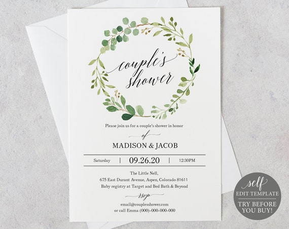 Couples Shower Invitation Template, Editable Instant Download, TRY BEFORE You BUY, Greenery
