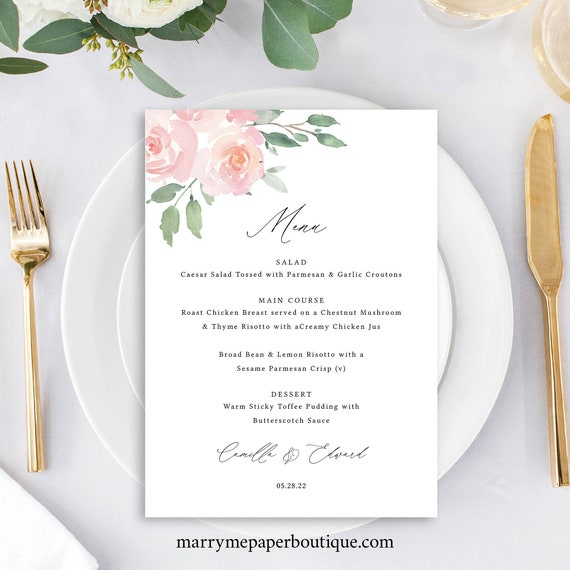 Menu Template, 5x7, Elegant Blush Floral, Try Before Purchase, Templett, Editable & Printable, Instant Download