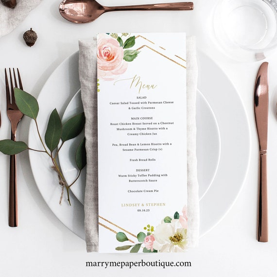 Wedding Menu Template, Blush Floral Hexagonal, Editable Instant Download, TRY BEFORE You BUY