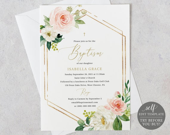 Baptism Invitation Template, Pink Floral Hexagonal, TRY BEFORE You BUY, Editable Instant Download