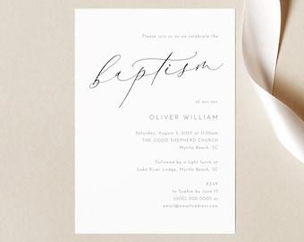 Baptism Invitation Template, Luxury Calligraphy, Elegant Baptism Invite, Printable, Editable, Templett INSTANT Download