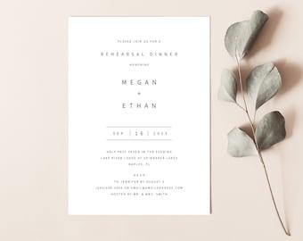 Rehearsal Dinner Invitation Template, Modern Minimalist, Printable Rehearsal Invite, Editable, Templett INSTANT Download