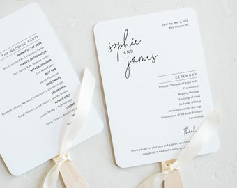 Wedding Program Fan Template, Minimalist Elegant, Editable & Printable Instant Download, Try Before Purchase, Templett