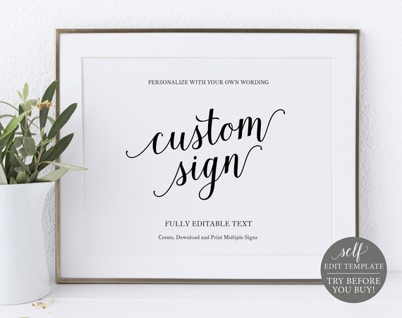 Create Multiple Wedding Signs! Modern Script Template, 100% Editable Instant Download, TRY BEFORE You BUY