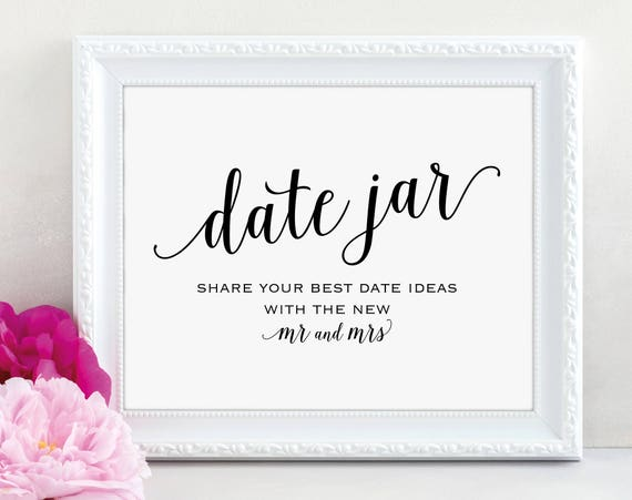 Date Jar Sign, Mr and Mrs, Date Night Ideas, Date Jar Wedding Sign, Wedding Printable, Date Jar, Date Sign, PDF Instant Download, MM01-1