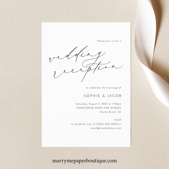 Reception Invitation Template, Luxury Calligraphy, Elegant Reception Evening Invitation, Printable, Templett INSTANT Download, Editable