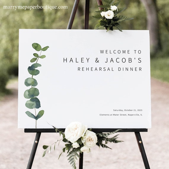 Rehearsal Dinner Welcome Sign Template, Elegant Eucalyptus, Rehearsal Dinner Sign Printable, Templett INSTANT Download, Editable