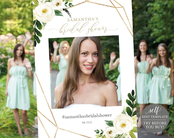 Bridal Shower Photo Booth Frame, White Floral, TRY BEFORE You BUY, Editable Instant Download