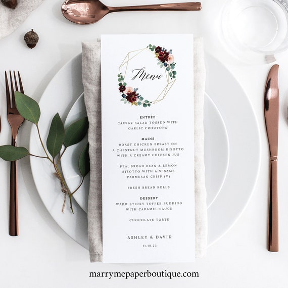 Wedding Menu Template, Burgundy Floral, Table Menu Card, Printable, Burgundy Wedding, Templett INSTANT Download, Editable