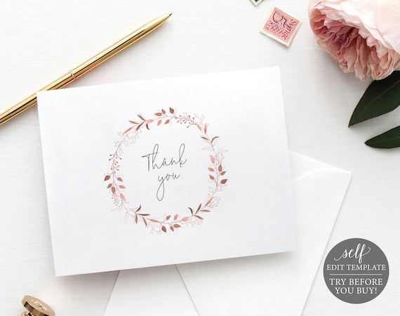 Thank You Card Template Folded, Order Edit & Download In Minutes, Try Before Purchase, Rose Gold Wreath