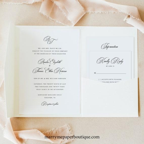 Wedding Invitation Template Set, Traditional Wedding Calligraphy, Monogram, Pocketfold Wedding Invite Suite, Templett INSTANT Download