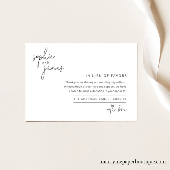 In Lieu of Favors Card Template, Elegant Minimalist, Try Before You Buy, Editable & Printable, Instant Download, Templett