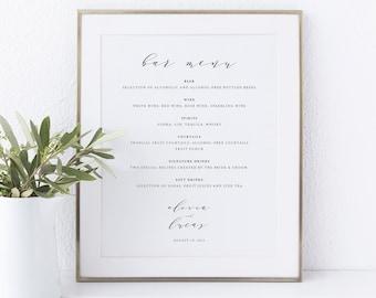 Bar Menu Sign Template, TRY BEFORE You BUY,  Editable Instant Download, Elegant Script