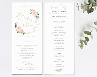 Wedding Program Template, Blush Pink Geometric, Order Edit & Download In Minutes, Try Before Purchase