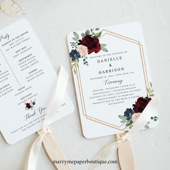Wedding Program Fan Template, Demo Available, Printable Editable Instant Download, Burgundy Navy