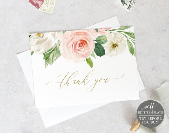Thank You Card Template, Folded, Blush Floral, Editable Instant Download, TRY BEFORE You BUY