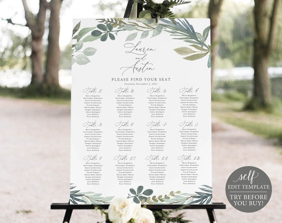 Seating Chart Template, Greenery Blue, Editable Instant Download, TRY BEFORE You BUY