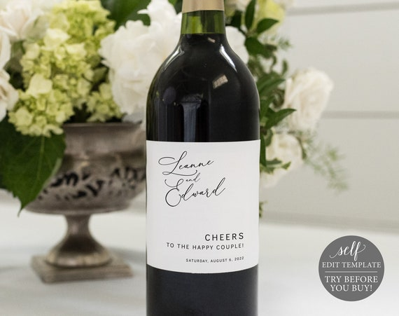 Wine Label Template, Minimalist, Editable & Printable Label, Instant Download, Try Before You Buy