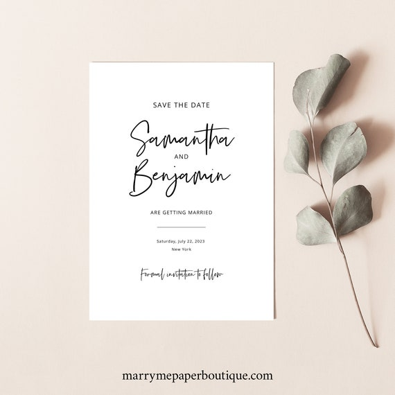 Minimalist Save the Date Card Template, Modern Calligraphy, Save Our Date Printable, Fully Editable, Modern, Templett INSTANT Download