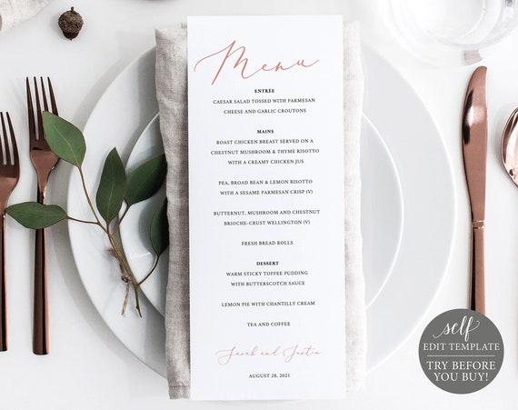 Wedding Menu Template, Elegant Rose Gold, Editable Instant Download, TRY BEFORE You BUY