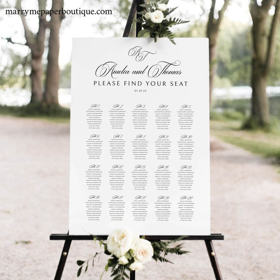 Wedding Seating Chart Template, Traditional Wedding Calligraphy Monogram, Wedding Seating Plan Sign, Printable, Templett INSTANT Download