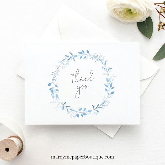 Thank You Card Template, Light Blue Foliage, Folded Thank You Card, Printable, Blue Wreath, Templett INSTANT Download, Editable