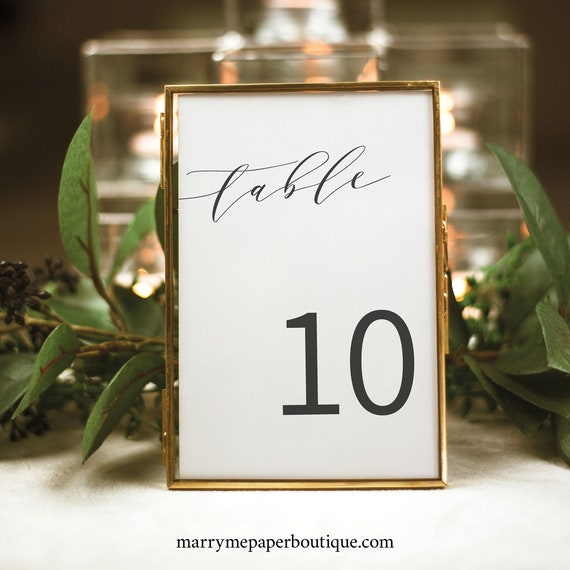 Elegant Table Number Template, Modern Wedding Table Number Sign, Templett Editable, Instant Download, Printable