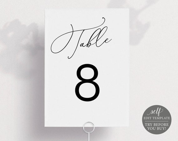 Table Number Template, Minimalist Portrait, Editable & Printable Instant Download, Templett