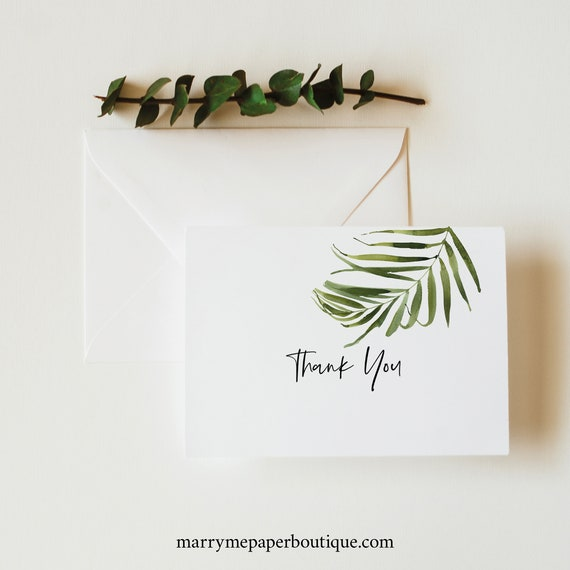Tropical Thank You Card Template, Greenery Folded Card, Templett Editable, Instant Download, Printable