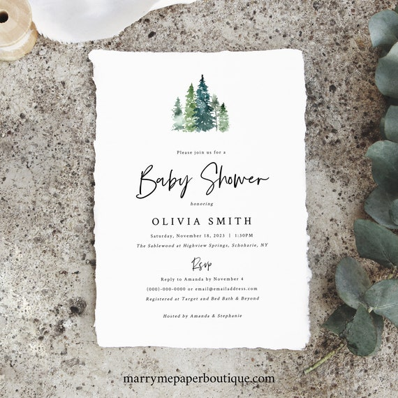 Pine Forest Baby Shower Invitation Template, Rustic Pine Trees, Baby Shower Invite, Printable, Editable, Templett, INSTANT Download