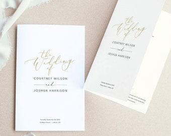 Wedding Program Template, Elegant Gold Script, Demo Available, Printable Editable Instant Download
