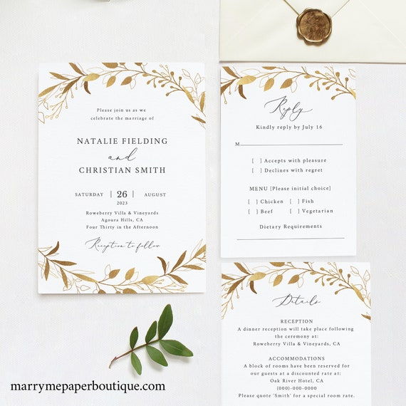Wedding Invitation Set Template, Gold Wreath,  Editable Instant Download, TRY BEFORE You BUY