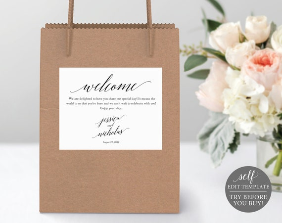 Guest Welcome Bag Label Template, Free Demo Available, Editable Instant Download, Calligraphy
