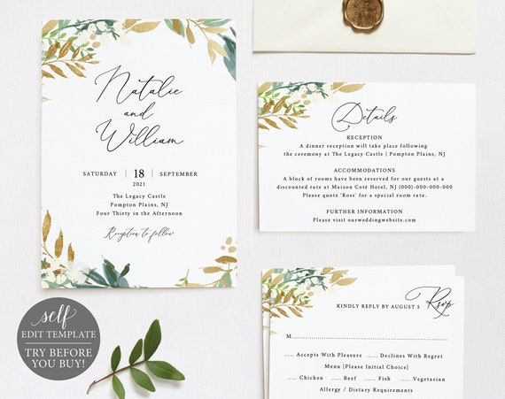 Wedding Invitation Set Templates, 100% Editable Instant Download, Gold & Greenery, TRY BEFORE You BUY